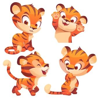 Schattige baby tijger cartoon dierenwelp kawaii mascotte