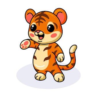 Schattige baby tijger cartoon poseren