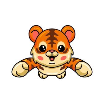 Schattige baby tijger cartoon springen