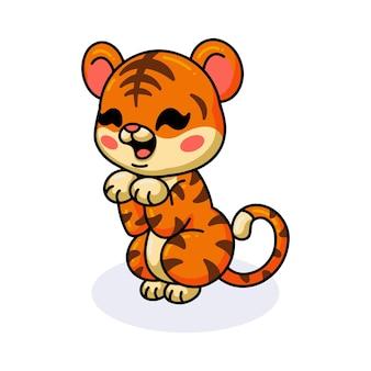 Schattige baby tijger cartoon staand