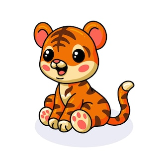 Schattige baby tijger cartoon zitten