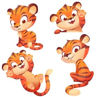 Schattige baby tijger karakter spelen en begroeten