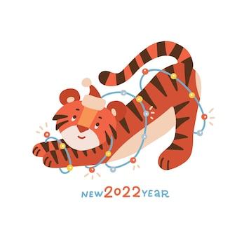 Schattige baby tijger met sprankelende slinger jaar van de tijger vector platte hand getekende illustratie met l...