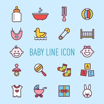 Schattige baby uitrusting pictogramserie