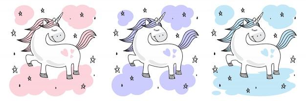 Schattige baby unicorn doodle sketch