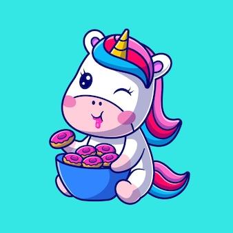 Schattige baby unicorn eten donut cartoon vectorillustratie pictogram. dierlijk voedsel pictogram concept geïsoleerd premium vector. platte cartoonstijl