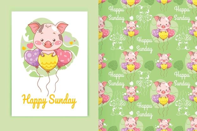 Schattige baby varken met liefde ballon cartoon afbeelding en naadloze patroon set