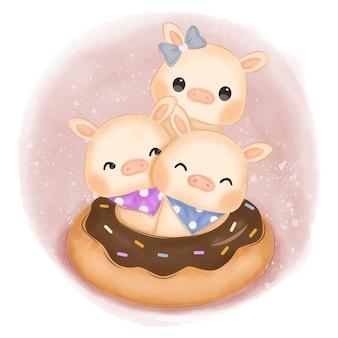 Schattige baby varkens illustratie voor kinderkamer decoratie