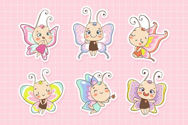 Schattige baby vlinder stripfiguren stickers voor kinderen meisjesachtige illustraties