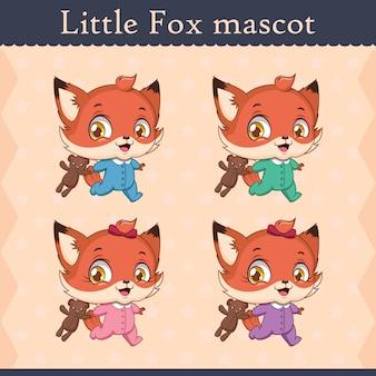 Schattige baby vos mascotte set - uitgevoerd pose