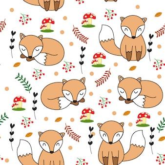 Schattige baby vos naadloze patroon