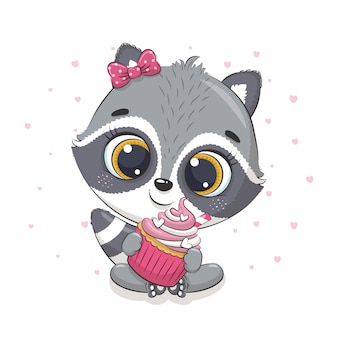 Schattige baby wasbeer met cupcake. illustratie voor babydouche, wenskaart, uitnodiging voor feest, mode kleding t-shirt print.
