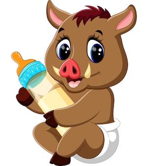 Schattige baby wilde zwijnen houden melkfles