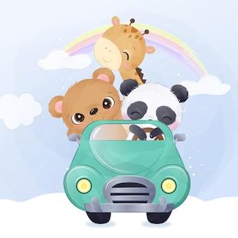 Schattige babydieren die samen rijden in aquarelillustratie