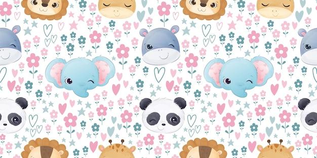 Schattige babydieren in naadloos patroon