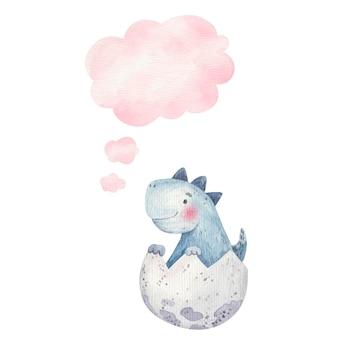 Schattige babydinosaurus in ei en gedachtepictogram, wolk, kinderillustratie in aquarel