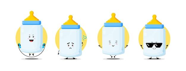 Schattige babyfles karakterverzameling