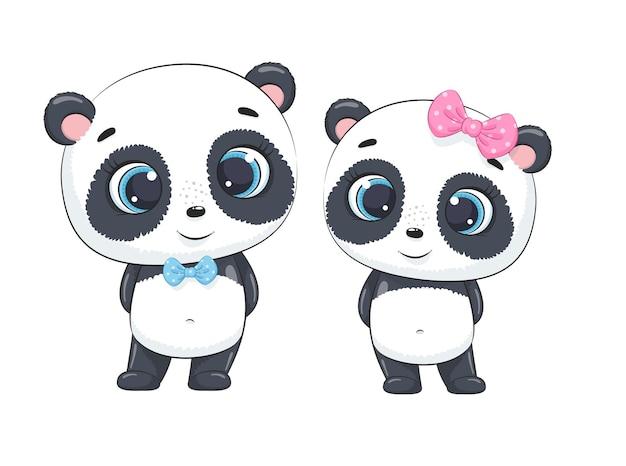 Schattige babyjongen en panda van het babymeisje