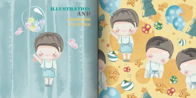 Schattige babyjongen hand getekend in zoete aquarel stijl naadloze patroon.