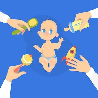 Schattige babyjongen huilen luid. verdrietig kind