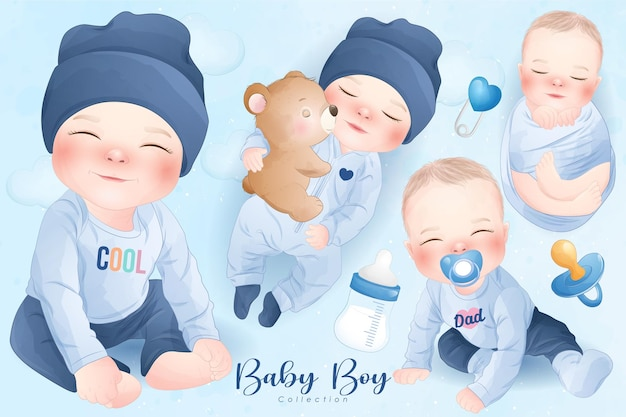 Schattige babyjongen in aquarel stijl collectie