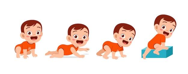 Schattige babyjongen in de voortgangsset van de groeicyclus