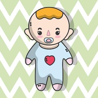 Schattige babyjongen met kapsel