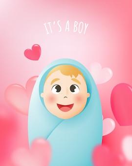 Schattige babyjongen met pastel regeling en papier kunst vectorillustratie