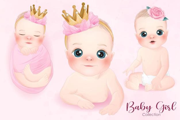 Schattige babymeisje in aquarel stijl collectie