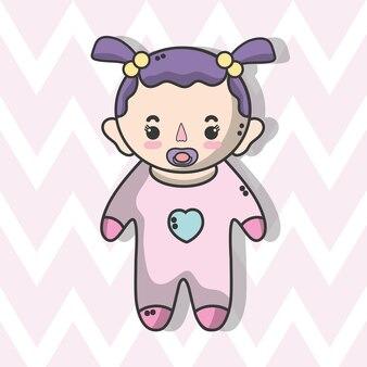 Schattige babymeisje met kapsel