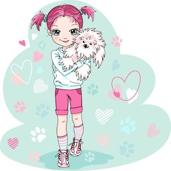 Schattige babymeisje met puppy