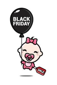 Schattige babymeisje vliegen in zwarte vrijdag ballon