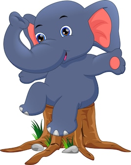 Schattige babyolifant cartoon
