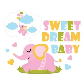 Schattige babyolifant heeft een zoete droom