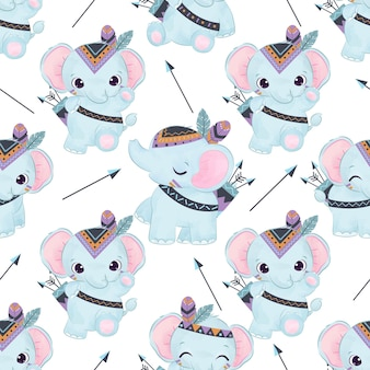 Schattige babyolifant in naadloos patroon