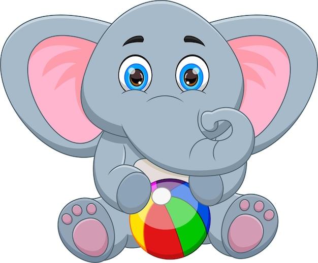 Schattige babyolifant met opblaasbare bal