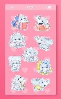 Schattige babyolifant mobiele app kawaii stripfiguren stickers pack.