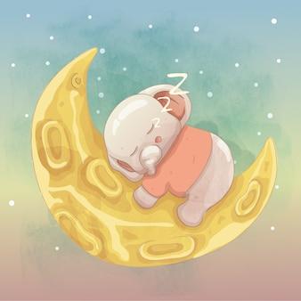 Schattige babyolifant slaapt op de maan