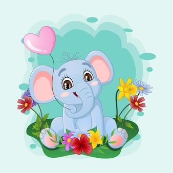 Schattige babyolifant zittend in het gras