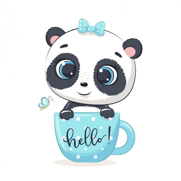 Schattige babypanda in beker.