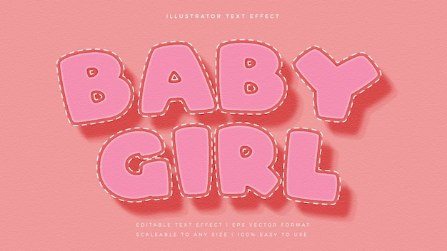Schattige babysteken tekststijl lettertype-effect