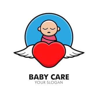 Schattige babyverzorging logo ontwerp illustratie