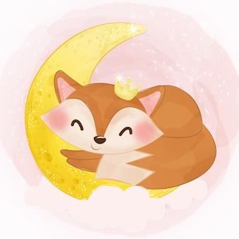 Schattige babyvos die op de maan slaapt