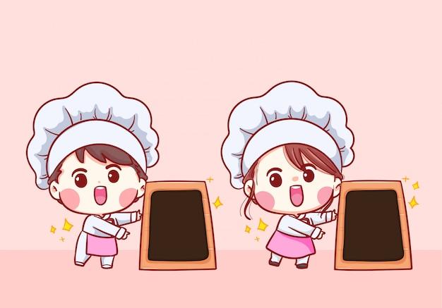 Schattige bakkerij chef jongen en meisje cartoon met menukaart karakter kunst illustratie.