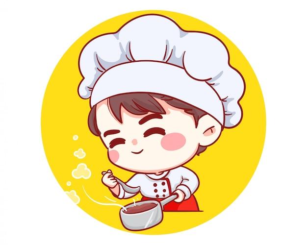 Schattige bakkerij chef jongen smaak glimlachend cartoon kunst illustratie logo.