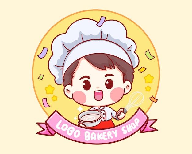 Schattige bakkerij chef-kok jongen glimlachend cartoon kunst illustratie logo.