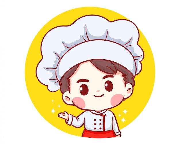 Schattige bakkerij chef-kok jongen welkom glimlachend cartoon kunst illustratie logo.
