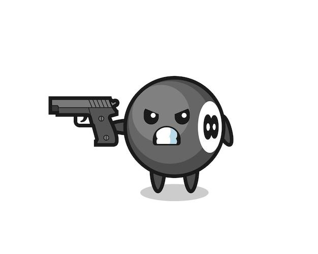 Schattige bal biljart karakter schieten met een pistool