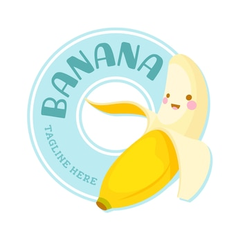 Schattige banaan karakter logo