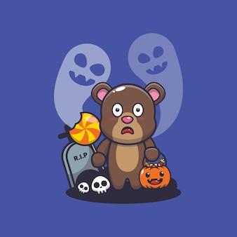 Schattige beer bang door geest in halloween-dag schattige halloween-cartoonillustratie